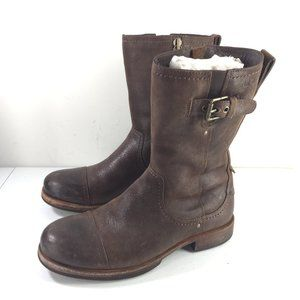 Ugg men's 8 Brown Leather Mid Boots Buckle Moto